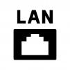 LANの差込口の白黒シルエットイラスト
