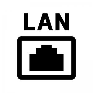 LANの差込口の白黒シルエットイラスト02