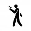 歩きスマホの白黒シルエットイラスト02