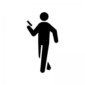 歩きスマホの白黒シルエットイラスト03