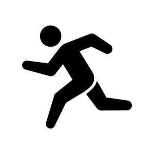 走っている人の白黒シルエットイラスト05