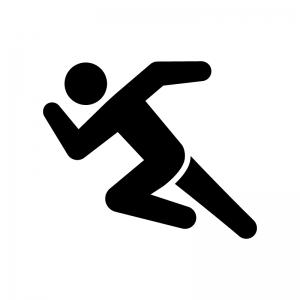 ダッシュで走っている人の白黒シルエットイラスト