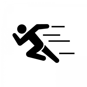 ダッシュで走っている人の白黒シルエットイラスト02