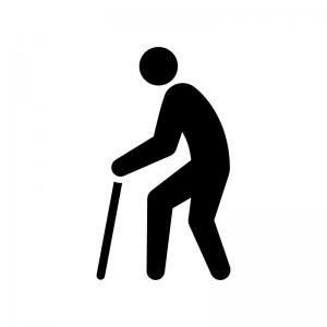杖をつく人物の白黒シルエットイラスト