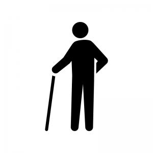 杖をつく人物の白黒シルエットイラスト04