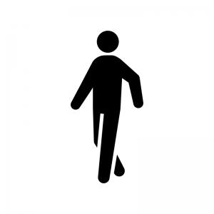 歩いている人の白黒シルエットイラスト06