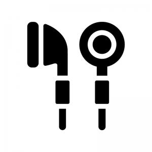 イヤフォンの白黒シルエットイラスト02