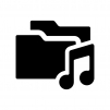 音楽フォルダの白黒シルエットイラスト02