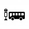 バス停とバスの白黒シルエットイラスト