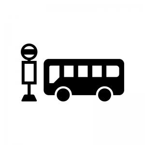 バス停とバスのシルエット | 無料のAi・PNG白黒シルエットイラスト