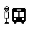 バス停とバスの白黒シルエットイラスト02