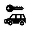 レンタカーの白黒シルエットイラスト02