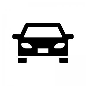 正面から見た自動車の白黒シルエットイラスト05