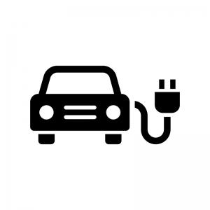 EV・電気自動車の白黒シルエットイラスト04