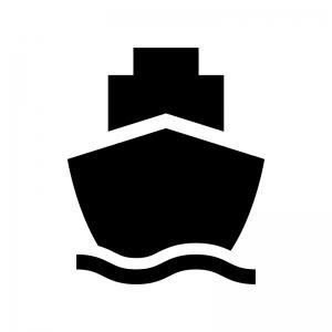 船・フェリーの白黒シルエットイラスト