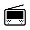 ワンセグ・ポータブルテレビの白黒シルエットイラスト06