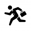 走るサラリーマンの白黒シルエットイラスト
