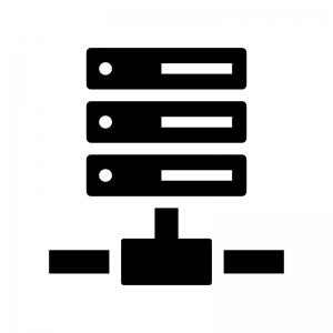 サーバ・NAS・ネットワークの白黒シルエットイラスト