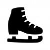スケート靴の白黒シルエットイラスト
