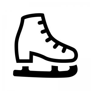 スケート靴の白黒シルエットイラスト02