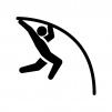 棒高跳びの白黒シルエットイラスト