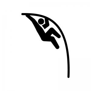 棒高跳びの白黒シルエットイラスト02