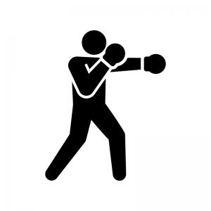 ボクシングの白黒シルエットイラスト
