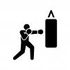 ボクシングの白黒シルエットイラスト02