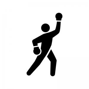 ボクシングの白黒シルエットイラスト03