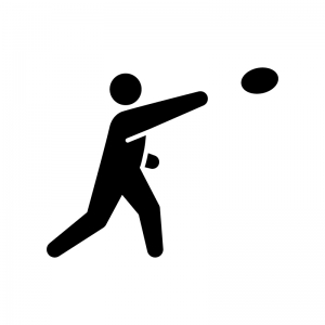 円盤投げの白黒シルエットイラスト03