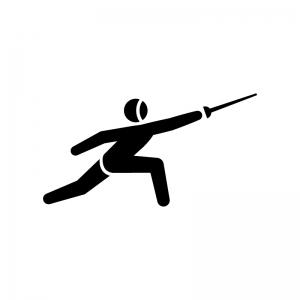 フェンシングの白黒シルエットイラスト02