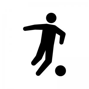 サッカーの白黒シルエットイラスト03
