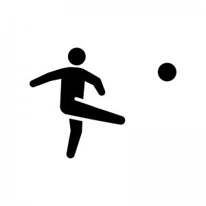 サッカーの白黒シルエットイラスト04