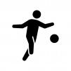 サッカーの白黒シルエットイラスト05