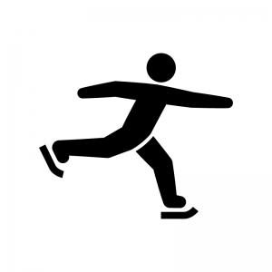 スケートの白黒シルエットイラスト02