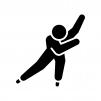 スピードスケートの白黒シルエットイラスト