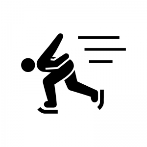 スピードスケートの白黒シルエットイラスト02