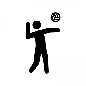 バレーボール(サーブ)の白黒シルエットイラスト