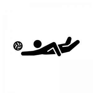 バレーボール(レシーブ)の白黒シルエットイラスト