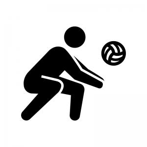 バレーボール(レシーブ)の白黒シルエットイラスト02