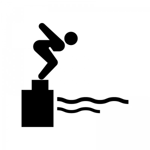 水泳の飛び込みのシルエット 無料のaipng白黒シルエットイラスト