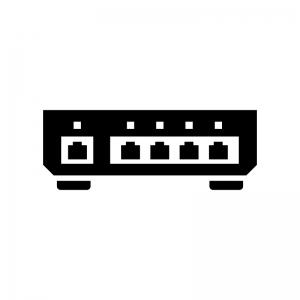 スイッチングハブの白黒シルエットイラスト02
