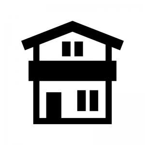 二階建ての家の白黒シルエットイラスト