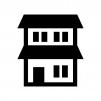 二階建ての家の白黒シルエットイラスト02