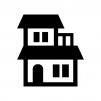 二階建ての家の白黒シルエットイラスト03