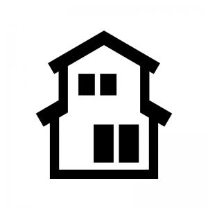 二階建ての家の白黒シルエットイラスト04