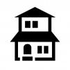 二階建ての家の白黒シルエットイラスト05