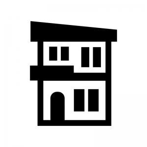 二階建ての家の白黒シルエットイラスト06