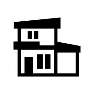 二階建ての家の白黒シルエットイラスト07