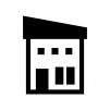 二階建ての家の白黒シルエットイラスト08